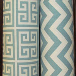 blue chevron and tribal block fabric