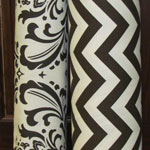 brown chevron and damask fabric