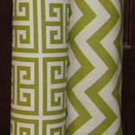 green chevron and tribal block fabric