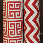 red chevron and tribal block fabric