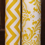 yellow chevron and damask fabric