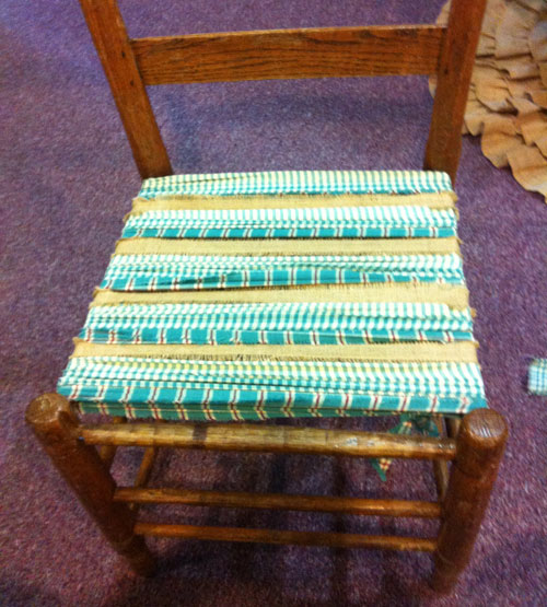 Fill The Seat With Fabric Strips Going Side To Side.